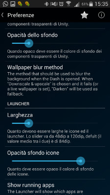 Ubuntu launcher beta opzioni
